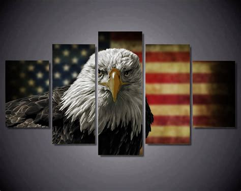 panels canvas prints vintage eagle american flag canvas
