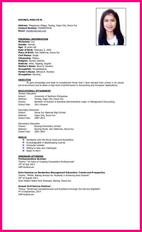 resume sle for ojt housekeeping danaya us