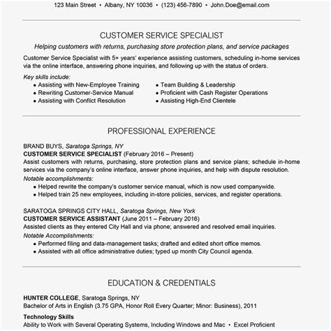 Customer Service Resume Exles by Exle Of A Customer Service Resume Bijeefopijburg Nl
