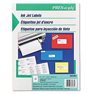 Pres-a-ply Inkjet Address Labels, 1 X 4