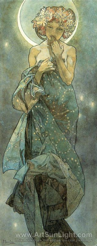 Painting with coffee is taking art to its most basic form. Alphonse Maria Mucha's oil painting The Moon. From The Moon and the Stars Series. 1902   Art ...