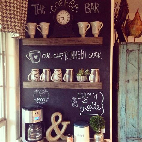 If you've chosen to carry your passion for coffee through the theme of the kitchen, begin by identifying your kitchen's style and color palette. Floating Shelf Coffee Bar | Coffee bar home, Home coffee stations, Chalkboard decor