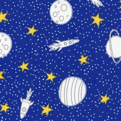 Tecido Tricoline Estampa de Planetas Foguetes e Estrelas