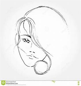 Abstract Women Face Line Art Drawing. Stock Vector - Image ...