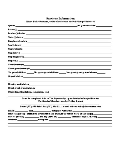 fill in the blank obituary template the reporter obituary form free