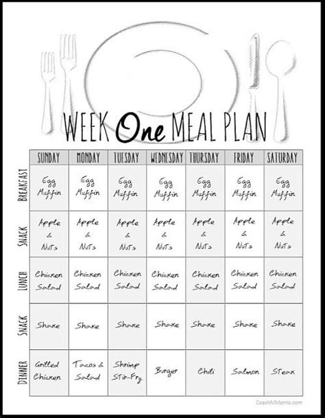 Weekly Meal Plan 1 ~ To Insanity & Back … | Organized