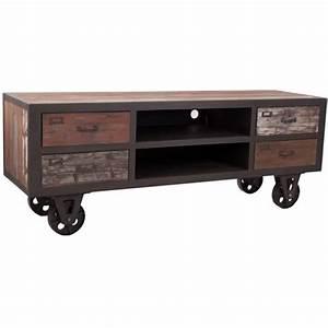 Meuble Tv Vintage : meuble tv vintage design industriel achat vente meuble tv meuble tv vintage design ~ Teatrodelosmanantiales.com Idées de Décoration