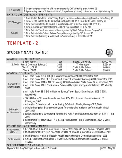 Iit Resume Computer Science by Cv Template By Kgp