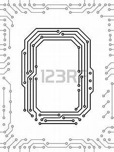 alphabet of printed circuit boards vector sablony With first circuit board
