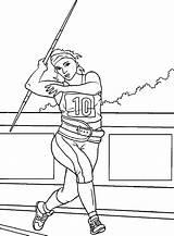 Thrower Javelin Woman Coloring sketch template