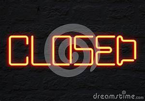 Closed Neon Sign Stock Illustration Image