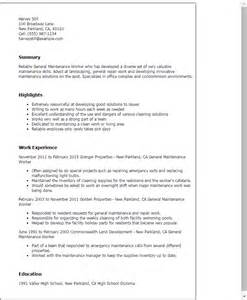 maintenance engineer resume objective professional general maintenance worker templates to showcase your talent myperfectresume