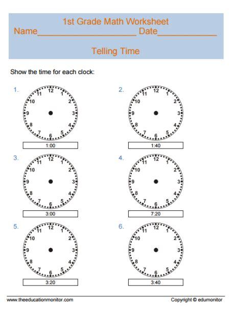 telling time math worksheets   grade kids