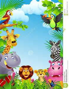 Cartoon Jungle Animals Border