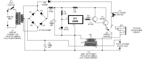 Telephone Wiring Voltage by Line Telephone Tester Circuit Diagram