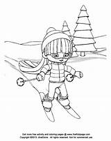 Coloring Skiing Skifahren Cartoon Mogul Clipart Downhill Kid Ausmalbilder Template Popular sketch template