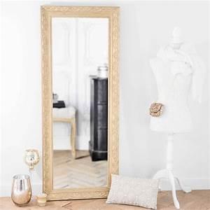 Miroir Fenetre Maison Du Monde : miroir en bois de paulownia dor h 145 cm valentine maisons du monde ~ Teatrodelosmanantiales.com Idées de Décoration