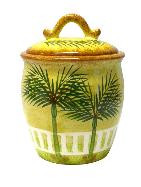 Ceramic Palm Tree Tropical Beach Theme Canister Kitchen
