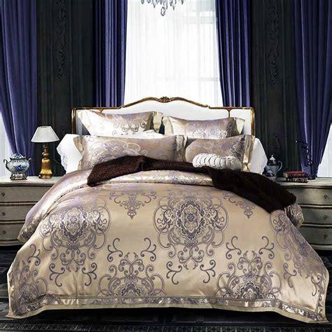 silk comforter sets 4 6pcs jacquard silk bedding sets luxury embroidered duvet 2220