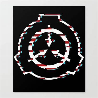 Scp Foundation Symbol Society6 Canvas Glitch