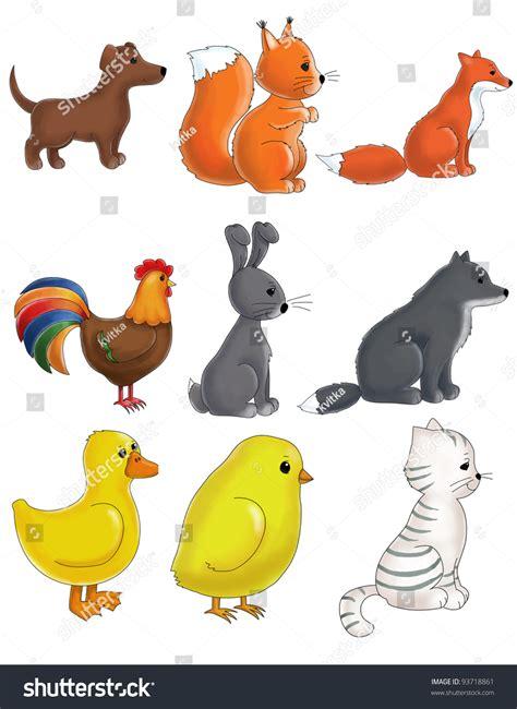 set cute animals  dog cat stock illustration
