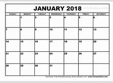 January 2018 Calendar monthly calendar template