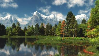 Forest Nature Mountains Landscape Trees Lake Clouds