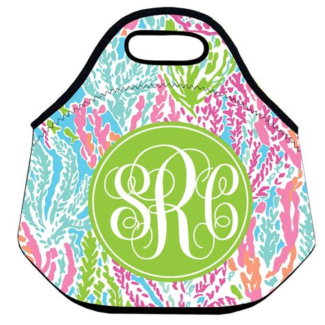 personalized lilly pulitzer monogram lunch bag  women
