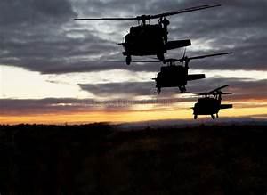 American Military Helicopters Night Flight Stock Photo ...