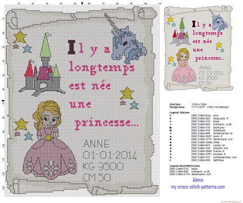cadre de naissance point de croix une princesse 3626x3025 6034407