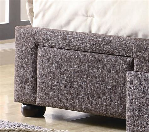 upholstered bed  brown tweed fabric  coaster