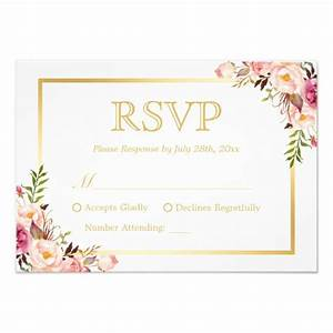Elegant Chic Gold Pink Floral Wedding RSVP Reply Card ...