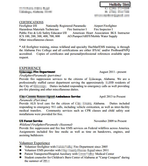 resume critique firefighting