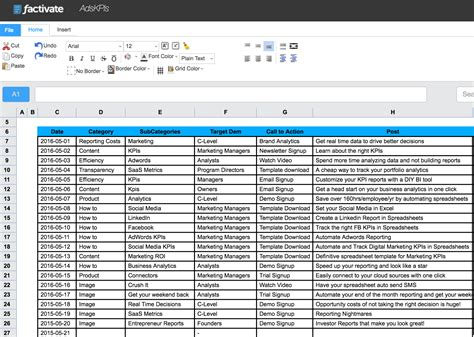 track linkedin ads kpis   spreadsheet