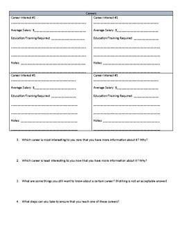 Career Exploration Worksheet And Website By Ms Penguin Preps Tpt