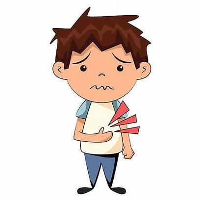 Stomach Ache Cartoon Boy Clipart Young Vector