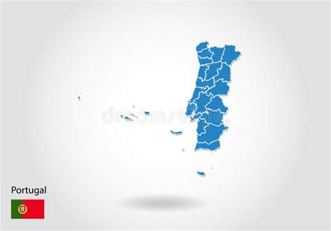 portugal map  national flag vector stock vector