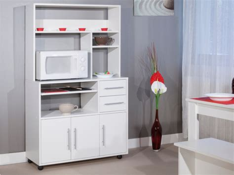 buffet de cuisine blanc desserte de cuisine sur roulettes astrid coloris blanc