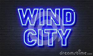 Wind City Neon Sign Brick Wall Background Stock