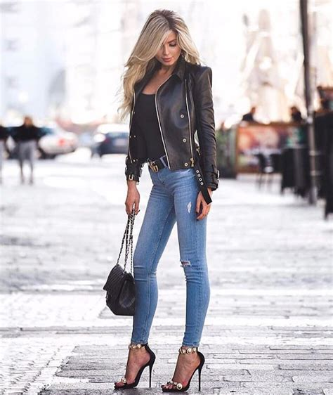 black leather jacket  blue jeans  heels pictures