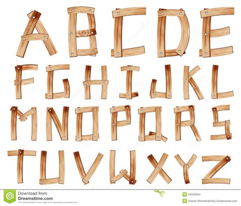 wooden alphabet letters vector wooden alphabet stock vector illustration of