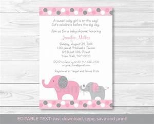 Pink and Gray Polka Dot Elephant Printable Baby Shower ...