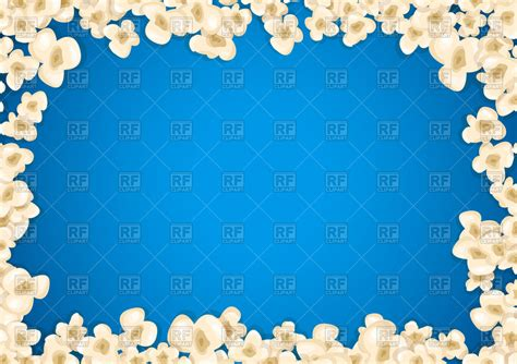 popcorn background heap popcorn frame on blue background vector image