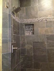 natural slate tile with pebble stone border installed by With natural slate bathroom tiles
