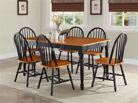 farm table dining set 7 pc dining room sets table chairs wood farmhouse windsor