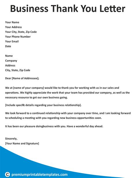 Thank You Letter Template by Business Thank You Letter Business Letter Templates