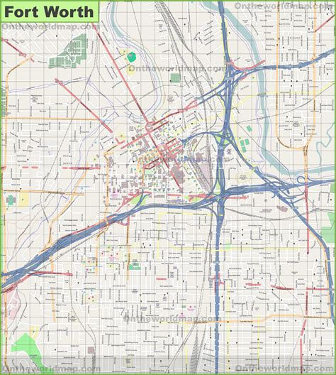 large detailed map of fort worth