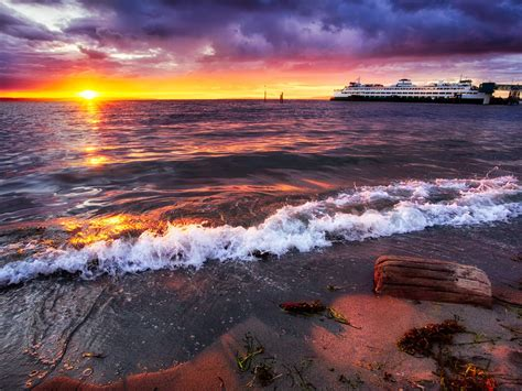 Beautiful Sunset Beach In Edmonds Washington Desktop Hd ...