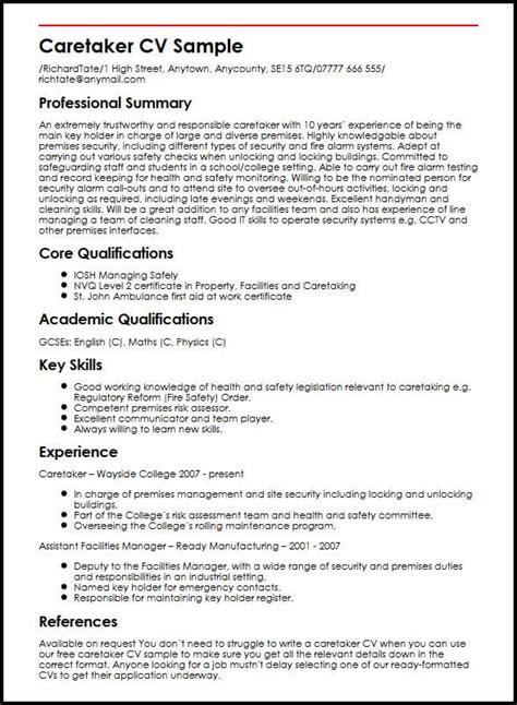 Cv Writing Skills by Caretaker Cv Sle Myperfectcv
