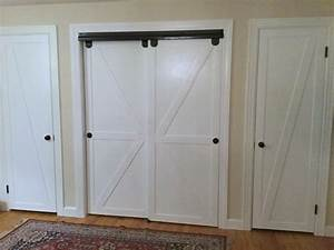 remodelaholic how to make bypass closet doors into With barn door look closet doors
